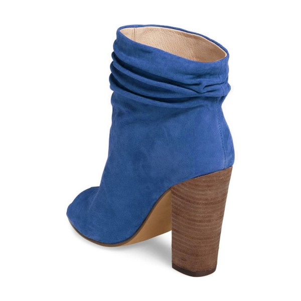 Blue Slouch Boots Peep Toe Suede Chunky Heels image 3