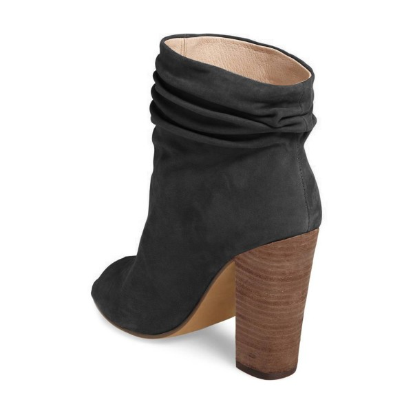 Dark Grey Slouch Boots Peep Toe Suede Chunky Heels image 4
