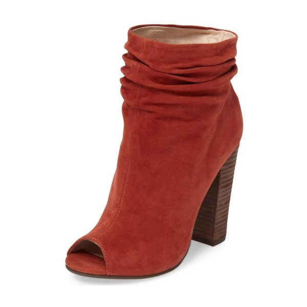 Brick Red Slouch Boots Peep Toe Suede Chunky Heels image 1