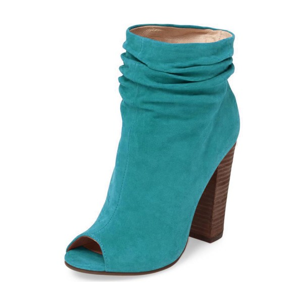 Teal Shoes Peep Toe Booties Suede Block Heel Slouch Boots by FSJ image 1