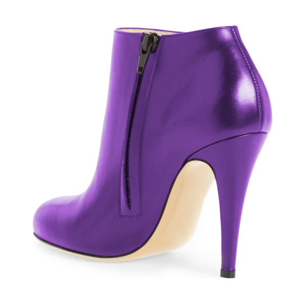Purple Heeled Boots Round Toe Fashion Work Shoes for Women image 2