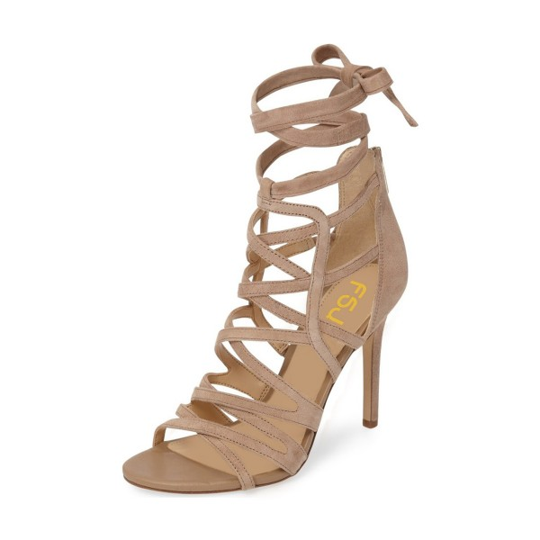 Khaki Suede Stiletto Heels Strappy Sandals Open Toe Sexy Shoes image 1