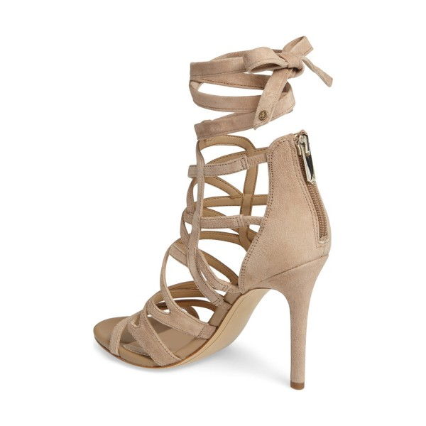 Khaki Suede Stiletto Heels Strappy Sandals Open Toe Sexy Shoes image 3