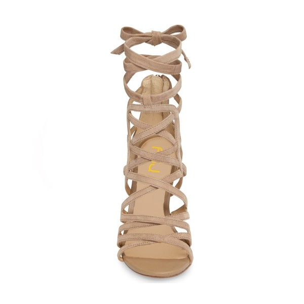 Khaki Strappy Sandals Sexy Open Toe Suede Women's Stiletto Heels  image 4