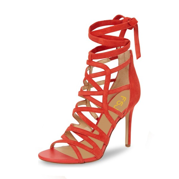 Red Strappy Sandals Suede Open Toe Stiletto Heels image 1