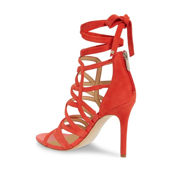 Red Strappy Sandals Suede Open Toe Stiletto Heels image 2
