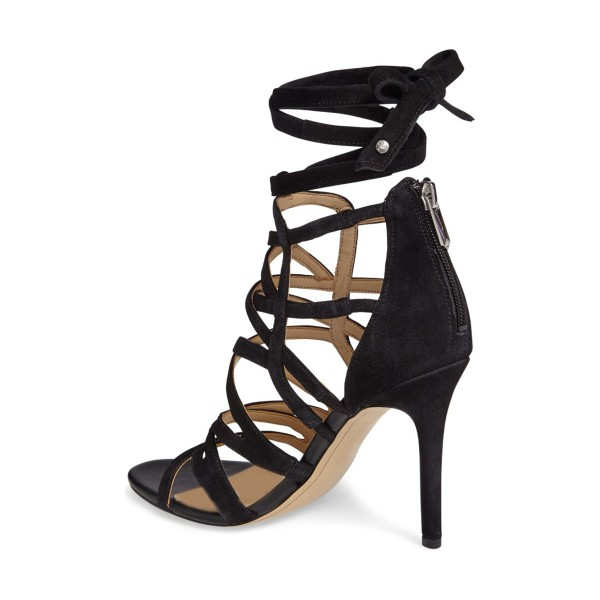 Black Strappy Sandals Sexy Open Toe Suede Stiletto Heels  image 3