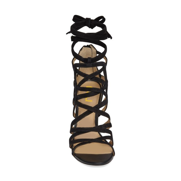 Black Strappy Sandals Sexy Open Toe Suede Stiletto Heels  image 4