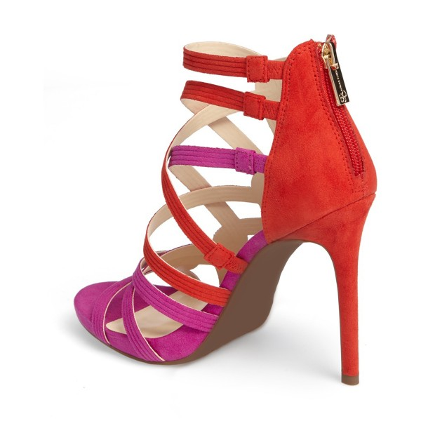 Women's Red and Violet Hollow-out Knit Stiletto Heels Sandals image 3
