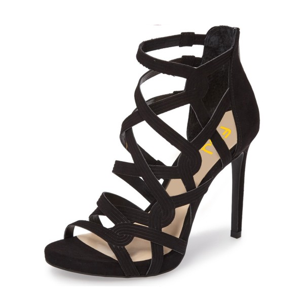 Black Hollow-out Knit Stiletto Gladiator Heels Sandals for Women image 1