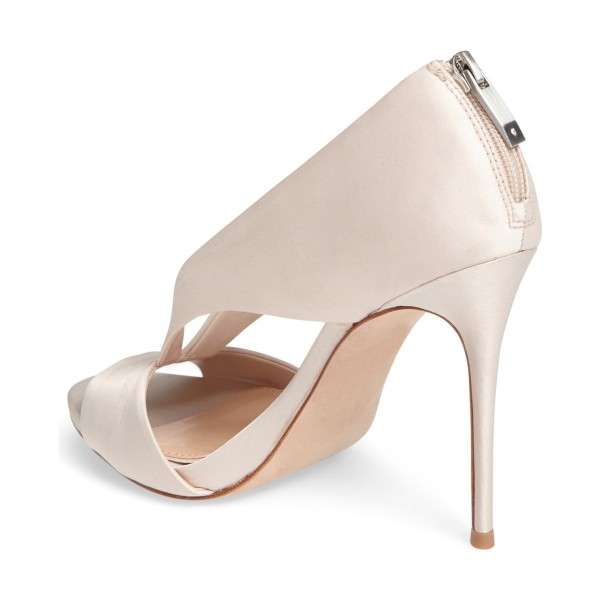 Women's Beige Satin Peep Toe Stiletto Heels Pumps Shoes image 3