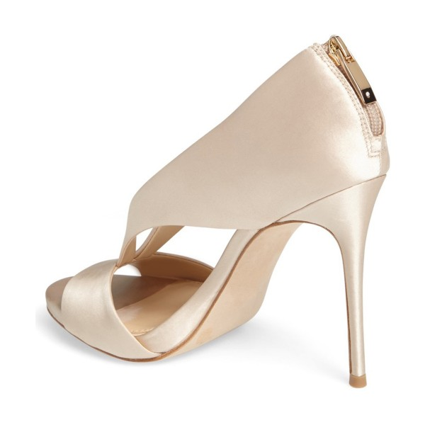 Champagne Bridal Sandals Cut out Satin Open Toe Stiletto Heels image 3