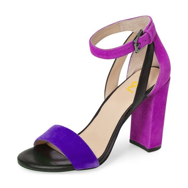 Purple and Black Ankle Strap Sandals Suede Block Heels by FSJ for ...
