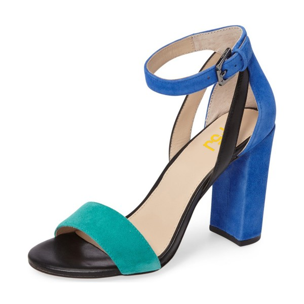 Cyan and Blue Ankle Strap Sandals Suede Block Heels image 1