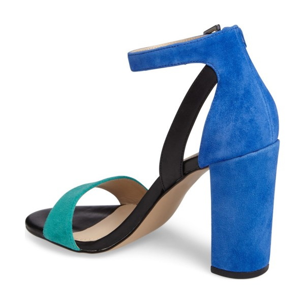 Cyan and Blue Ankle Strap Sandals Suede Block Heels image 3