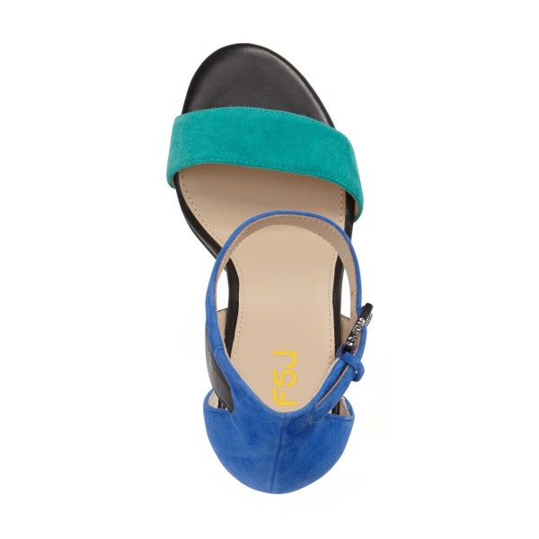 Cyan and Blue Ankle Strap Sandals Suede Block Heels image 2