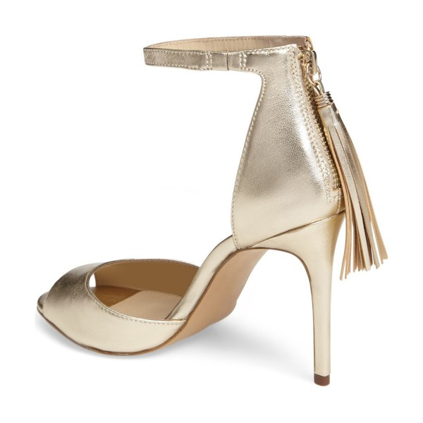 Champagne Tassel Sandals Peep Toe Ankle Strap Stiletto Heel Sandals image 4
