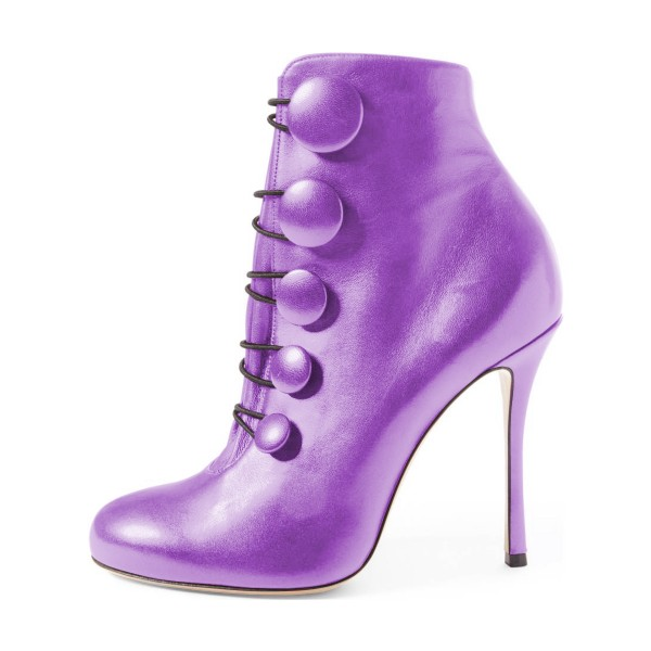 Purple Heeled Boots Round Toe Stiletto Heel Buttoned Ankle Booties image 4