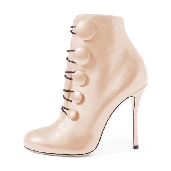 Beige Stiletto Boots Round Toe Heeled Buttoned Ankle Booties image 2