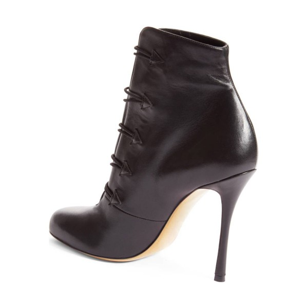 Black Stiletto Boots Round Toe Buttoned Heeled Ankle Booties for Women image 3