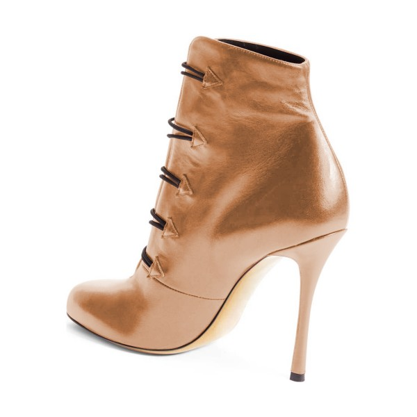 Tan Boots Round Toe Buttoned Stiletto Heel Ankle Booties for Women image 3