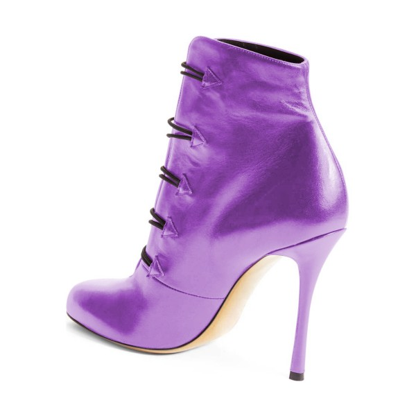Purple Heeled Boots Round Toe Stiletto Heel Buttoned Ankle Booties image 3