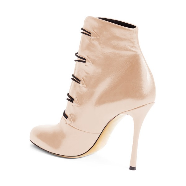 Beige Stiletto Boots Round Toe Heeled Buttoned Ankle Booties image 4