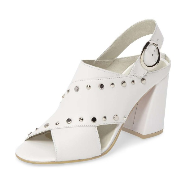 Ivory Studs Shoes Slingback Chunky Heel Sandals by FSJ image 1