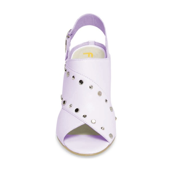 Light Purple Studs Shoes Slingback Chunky Heel Sandals by FSJ image 2