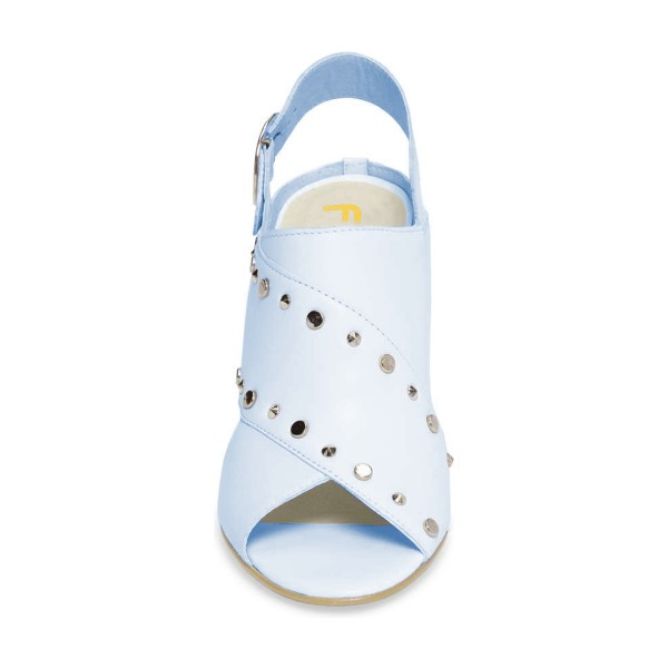 Light Blue Studs Shoes Slingback Chunky Heel Sandals by FSJ image 2