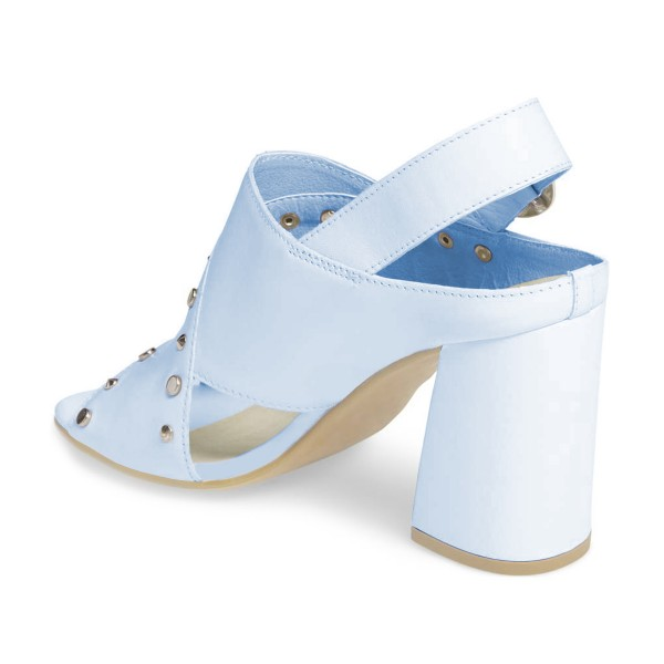 Light Blue Studs Shoes Slingback Chunky Heel Sandals by FSJ image 3