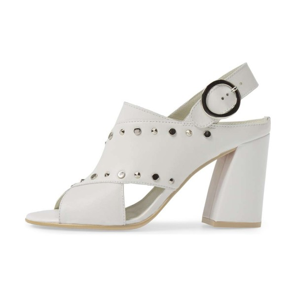 Ivory Studs Shoes Slingback Chunky Heel Sandals by FSJ image 4