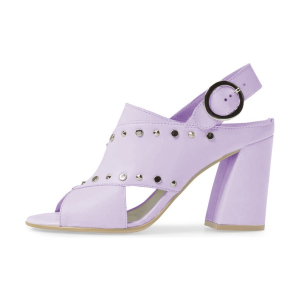 Light Purple Studs Shoes Slingback Chunky Heel Sandals by FSJ image 4