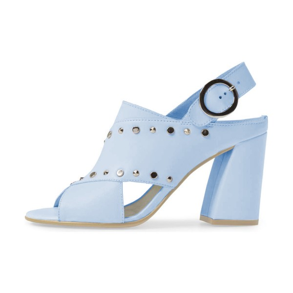 Light Blue Studs Shoes Slingback Chunky Heel Sandals by FSJ image 4
