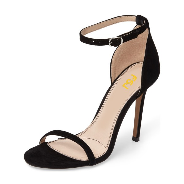 On Sale Black Commuting Stiletto Heels Ankle Strap Sandals image 1