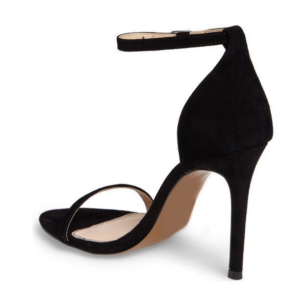 On Sale Black Commuting Stiletto Heels Ankle Strap Sandals image 2