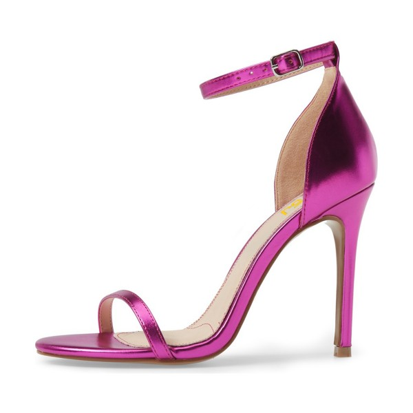 Women's Red Violet Glossy Stiletto Heels Open Toe Ankle Strap Sandals image 3