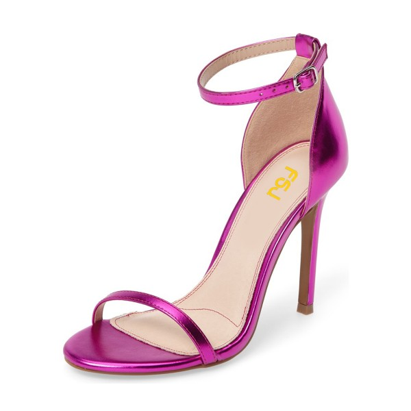 Women's Red Violet Glossy Stiletto Heels Open Toe Ankle Strap Sandals image 1