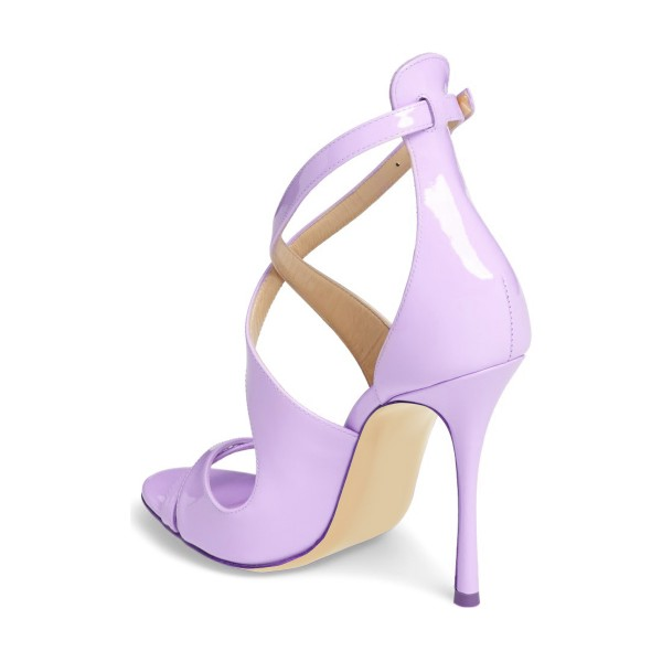Orchid Stiletto Heels Cross-over Strap Patent Leather Summer Sandals image 2