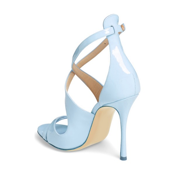 Light Blue Stiletto Heels Cross-over Strap Open Toe Sandals image 2