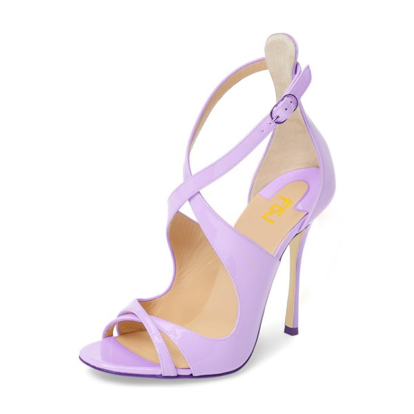 Orchid Stiletto Heels Cross-over Strap Patent Leather Summer Sandals image 1