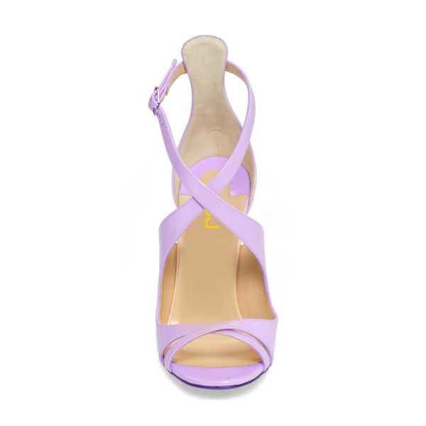 Orchid Stiletto Heels Cross-over Strap Patent Leather Summer Sandals image 3