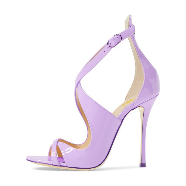 Orchid Stiletto Heels Cross-over Strap Patent Leather Summer Sandals image 4