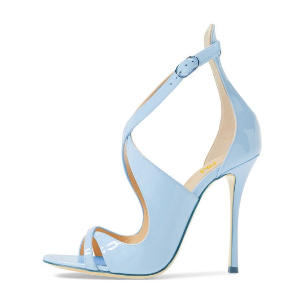 Light Blue Stiletto Heels Cross-over Strap Open Toe Sandals image 4