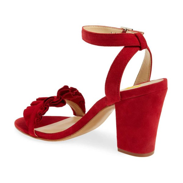 Women's Red Ruffle 3 Inches Chunky Heel Ankle Strap Sandals image 4