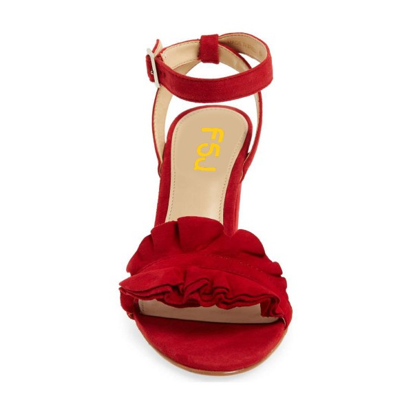 Women's Red Ruffle 3 Inches Chunky Heel Ankle Strap Sandals image 3