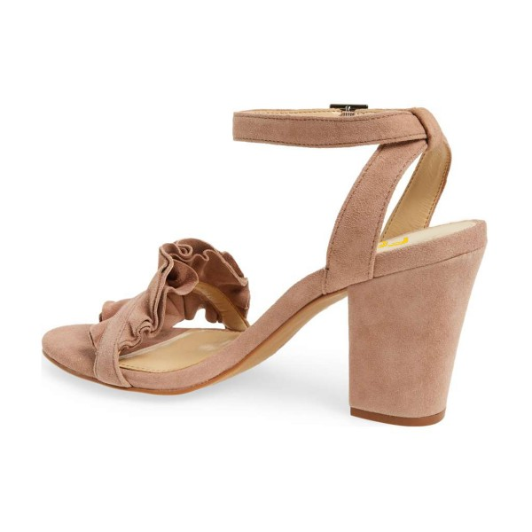Women's Nude Suede Ruffle 3 Inches Chunky Heel Ankle Strap Sandals image 3