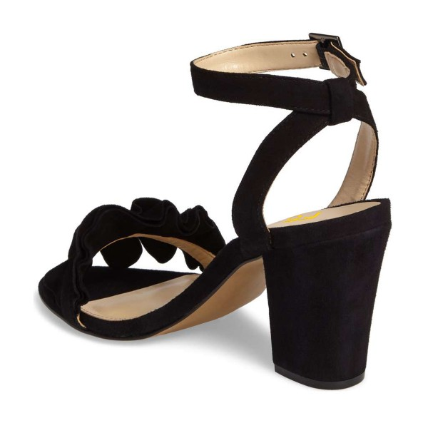 Black Suede Ruffle 3 Inches Chunky Heel Ankle Strap Sandals image 4