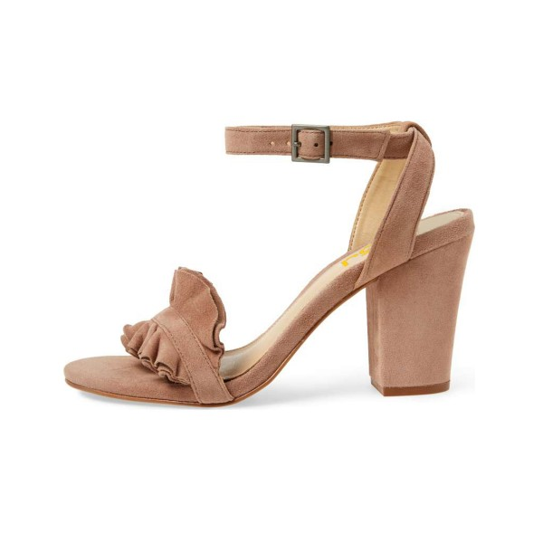 Women's Nude Suede Ruffle 3 Inches Chunky Heel Ankle Strap Sandals image 4