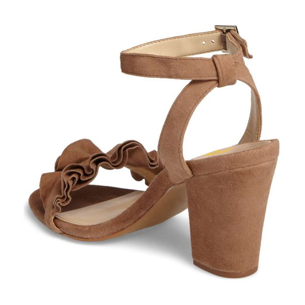 Women's Brown Suede Ruffle 3 Inches Chunky Heel Ankle Strap Sandals  image 3